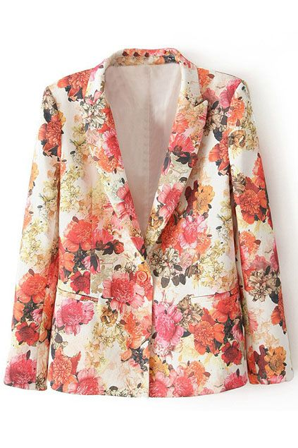 ROMWE | Lapels Pocketed Floral Print Blazer, The Latest Street Fashion