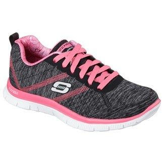 Skechers Flex Appeal Pretty City Memory Foam Running Shoe Black/Hot Pink