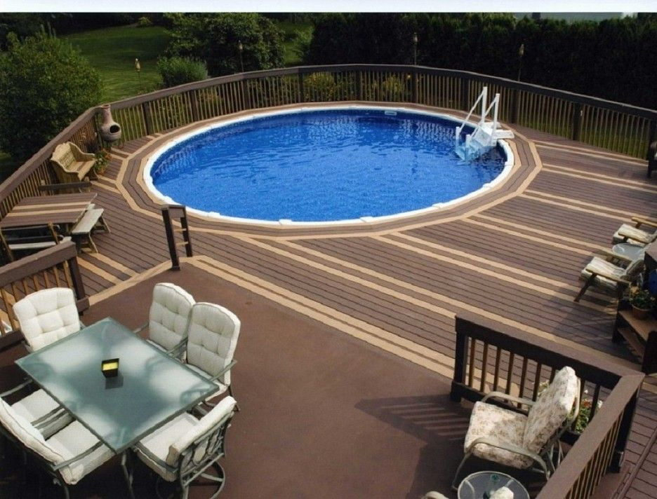 modern small oval above ground pool with deck designs for small