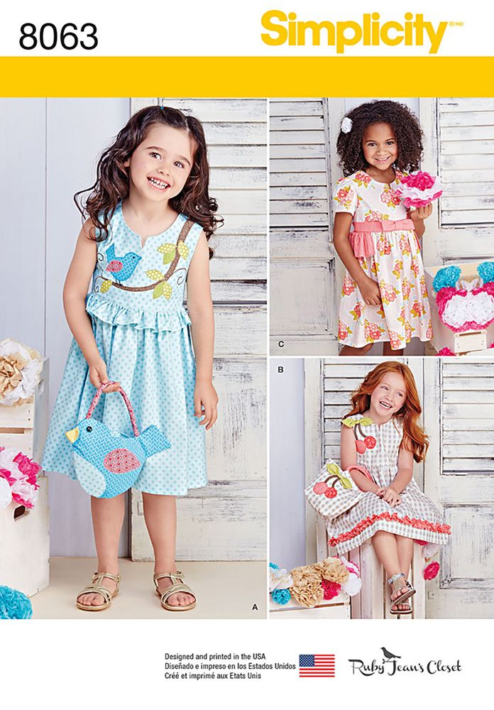 Childrens Spring Dresses with Purses Simplicity Sewing Pattern 8063 ...