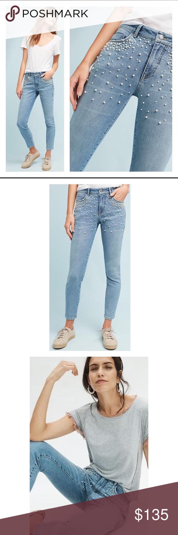 199c8037e45788 Pilcro and the Letterpress High-Rise Skinny Jeans BNWT ANTHROPOLOGIE Pilcro  and the Letterpress Script High-Rise Pearl Skinny Jeans size 27 This ...