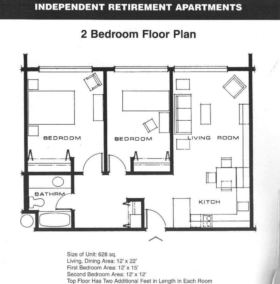Excellent Two Bedroom House Plans Architecture Independent Retirement Apartment Idea 2 Bedroom Apartment Floor Plan Bedroom Floor Plans Apartment Floor Plans