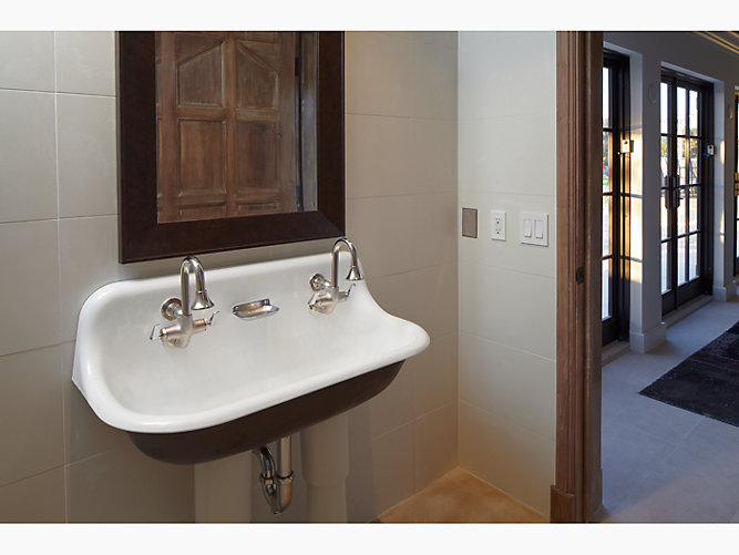 K 3200 Brockway 3 Wall Mounted Wash Sink With 2 Faucet Holes Kohler In 2020 Wall Mounted Bathroom Sinks Small Bathroom Sinks Vintage Bathroom Sinks