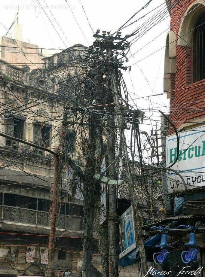 Enjoyable Telephone Pole In India Look At All The Crazy Wires Wow Wiring Digital Resources Ntnesshebarightsorg