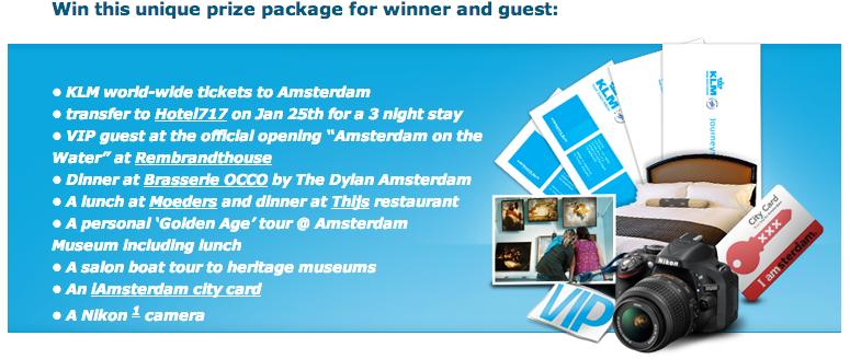 Concorso KLM per vincere un viaggio ad Amsterdam. Il contest è ...