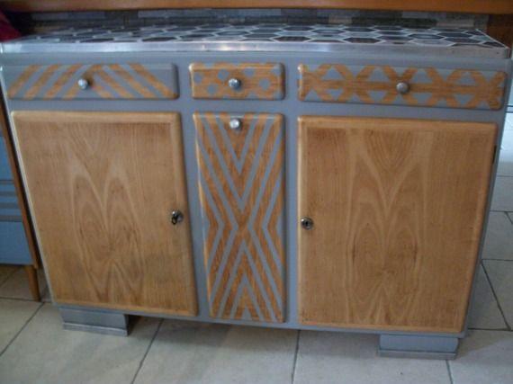 Buffet mado année 50 revisité | meuble vintage relooké | Pinterest ...
