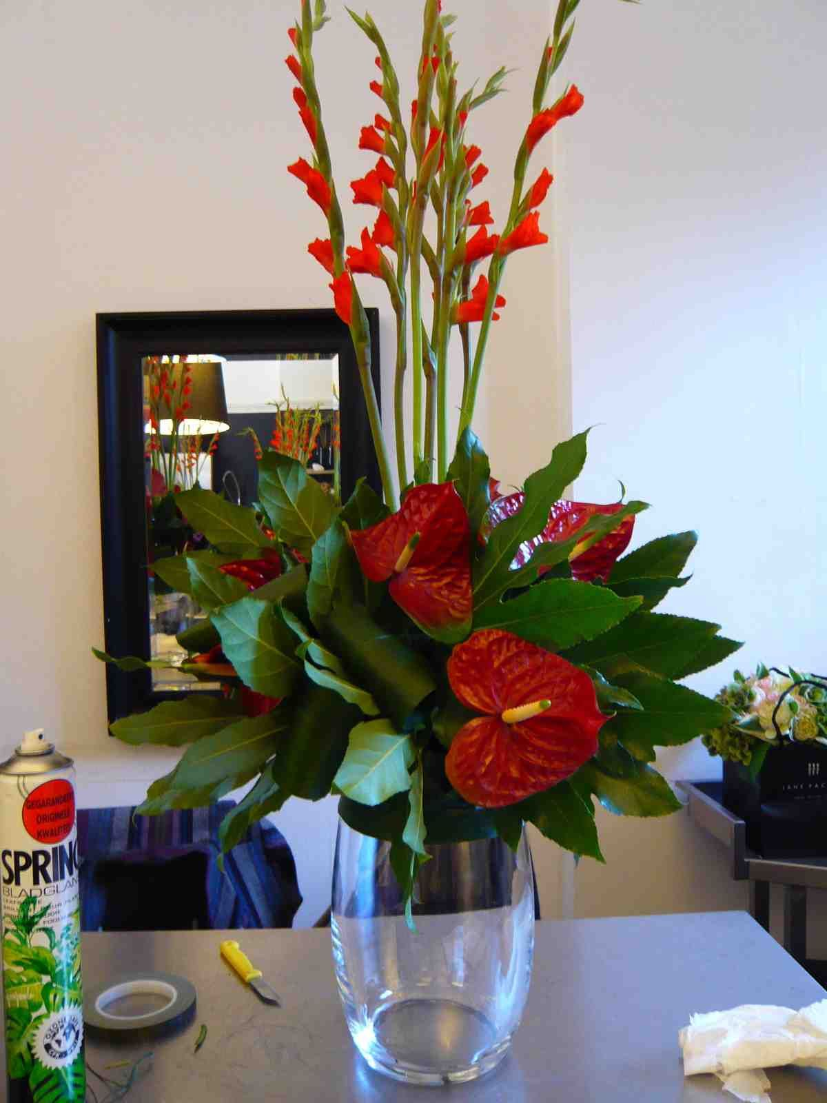 Day 3 At Jane Packer Tropical Flower Arrangements Anthurium Arrangement Church Flower Arrangements