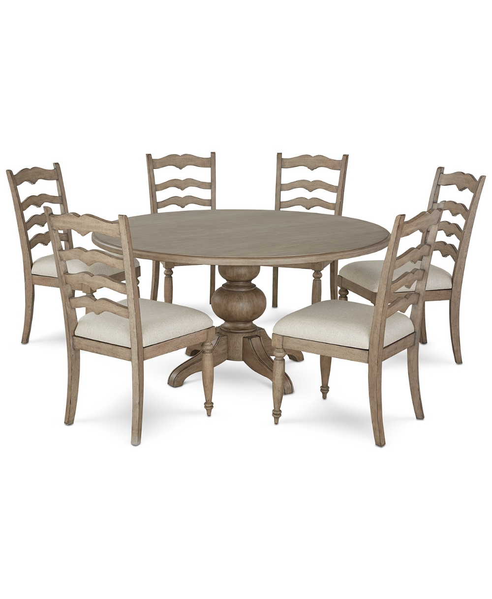 Furniture Ellan Round Dining Furniture 7 Pc Set Table 6 Side Chairs Created For Macy S Reviews Furniture Macy S In 2020 Round Dining Dining Furniture Furniture