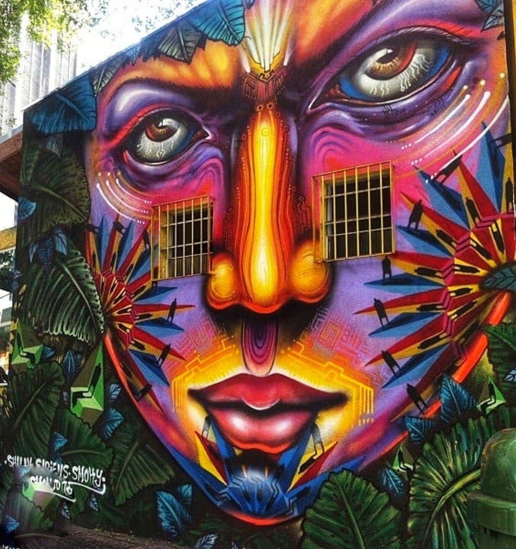 ART PRINT POSTER PHOTO GRAFFITI MURAL STREET PSYCHEDELIC FACE NOFL0305