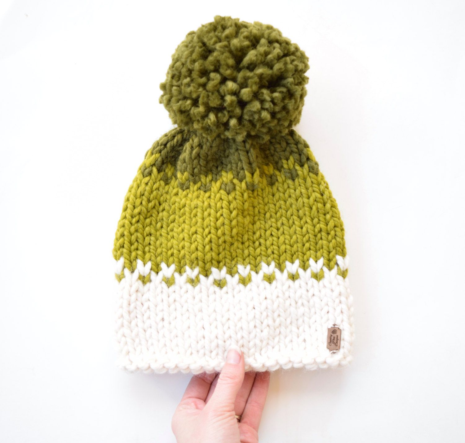 Ombré Knitted hat with pom pom, knitted fair isle hat, knitted hat ...