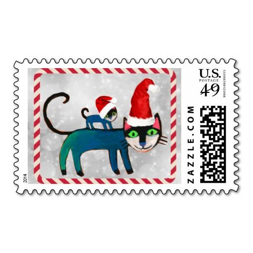 cats happy holidays christmas stamp