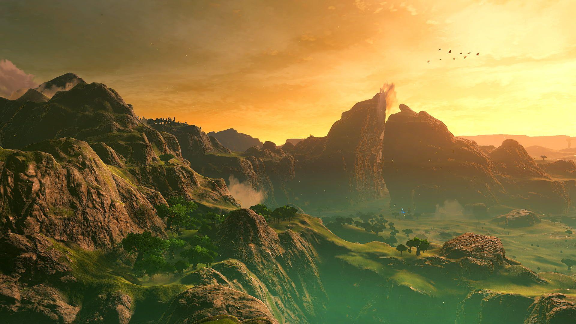 The Legend Of Zelda The Legend Of Zelda Breath Of The Wild Mountains Dusk Trees Birds Sky Clouds Landsc In 2020 Breath Of The Wild Legend Of Zelda Hd Wallpaper
