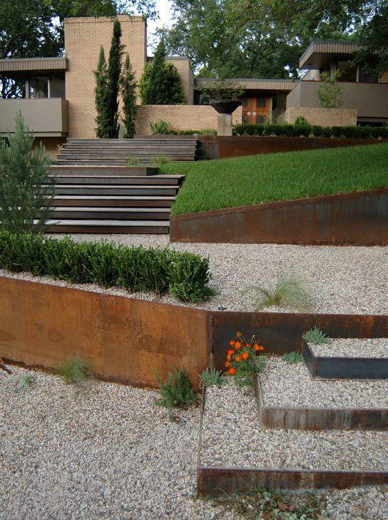 Copper Retaining Walls Modern Garden Modern Landscaping Garden Edging