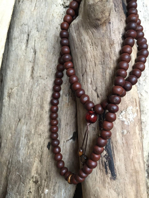 Large Bodhi Seed Mala With Bone And Vintage Resin Guru Bead Traditional Tibetan Buddhist Mala Prayer Be Prayer Bead Necklaces Beaded Necklace Mala Prayer Beads