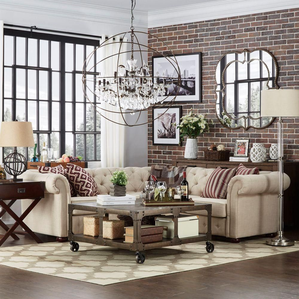 Homesullivan Radcliffe 3 Piece Oatmeal Linen Sectional In 2019 Products Decoration Deco