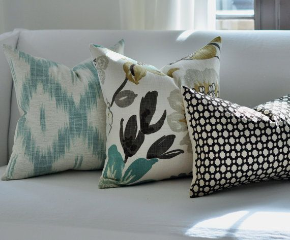 Pillow Combo   Mix Up Styles With Grey, Yellow And Aqua Amazing Design