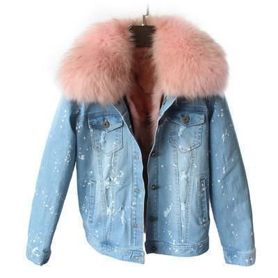 Limited Edition Fox Fur Denim Jacket Pink Products Pinterest