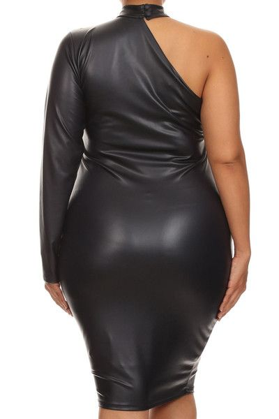 00584f0d24b Plus Size Sexy Leather One Sleeve Mid Dress 1X 2X 3X