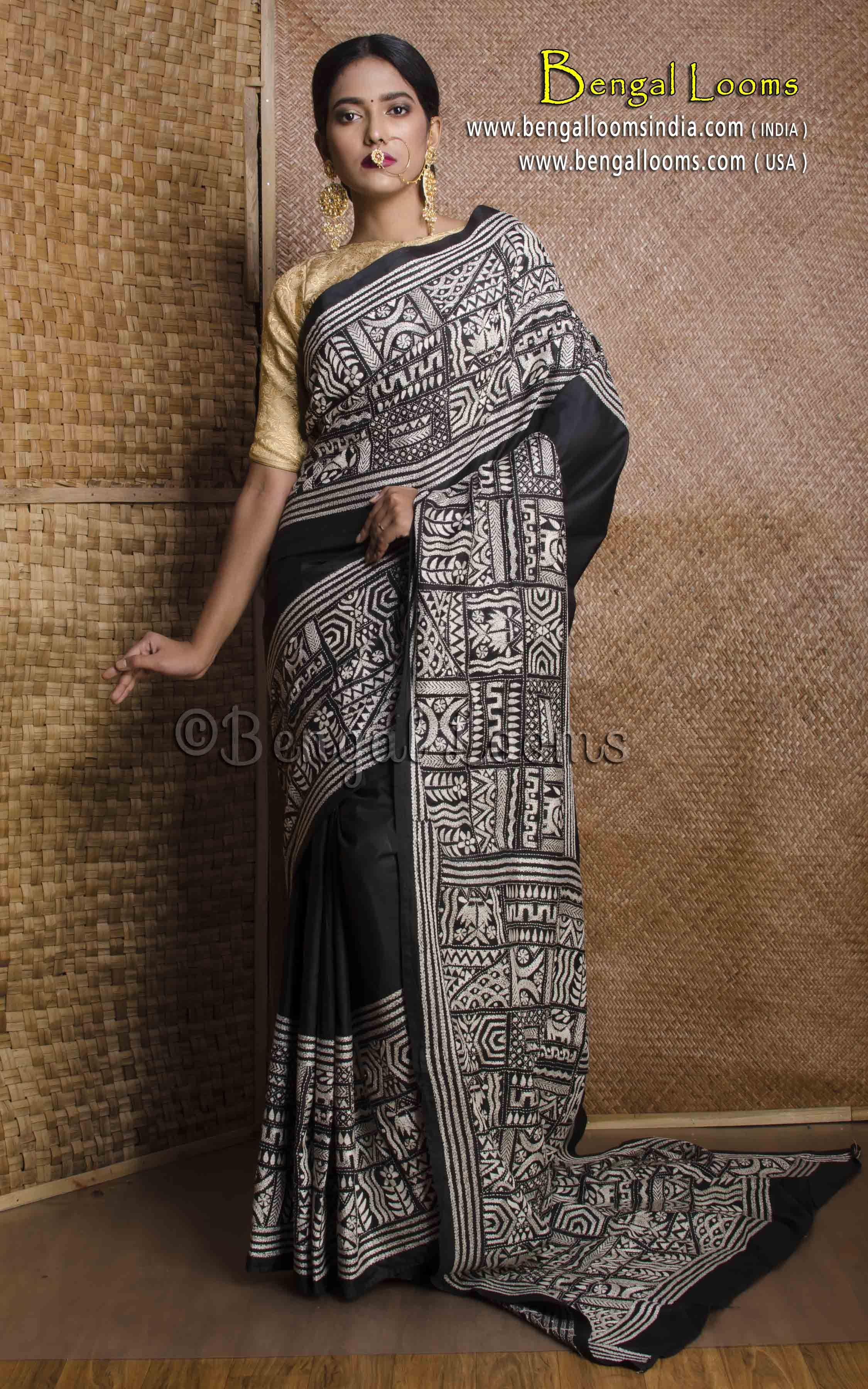 1bdec27812743 Hand Work Kantha Stitch Saree on Pure Silk in Black and White ...