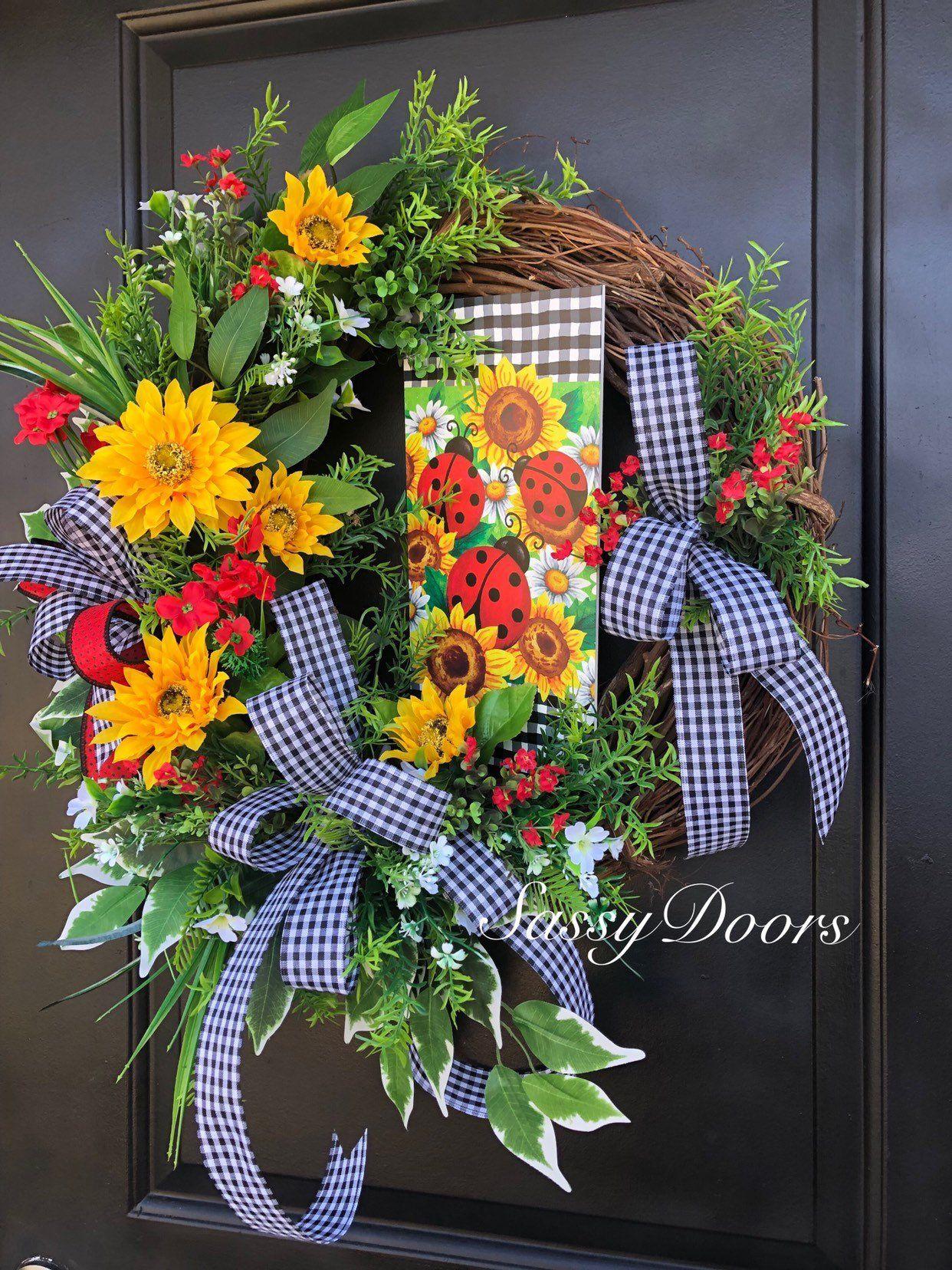 Photo of Ladybug wreath, farmhouse decor, summer wreath, sunflower wreath, cheeky door wreath, grapevine wreath, front door wreath, welcome wreath