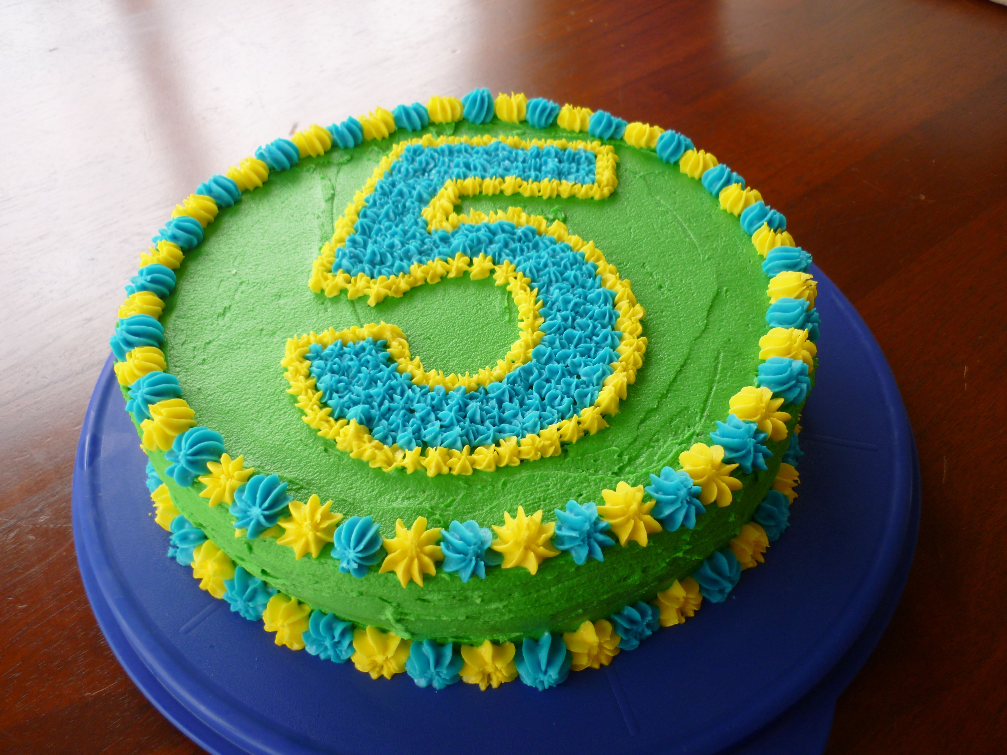 5th Birthday Cake Simple Easy Buttercream Number 5 Piped Ontop