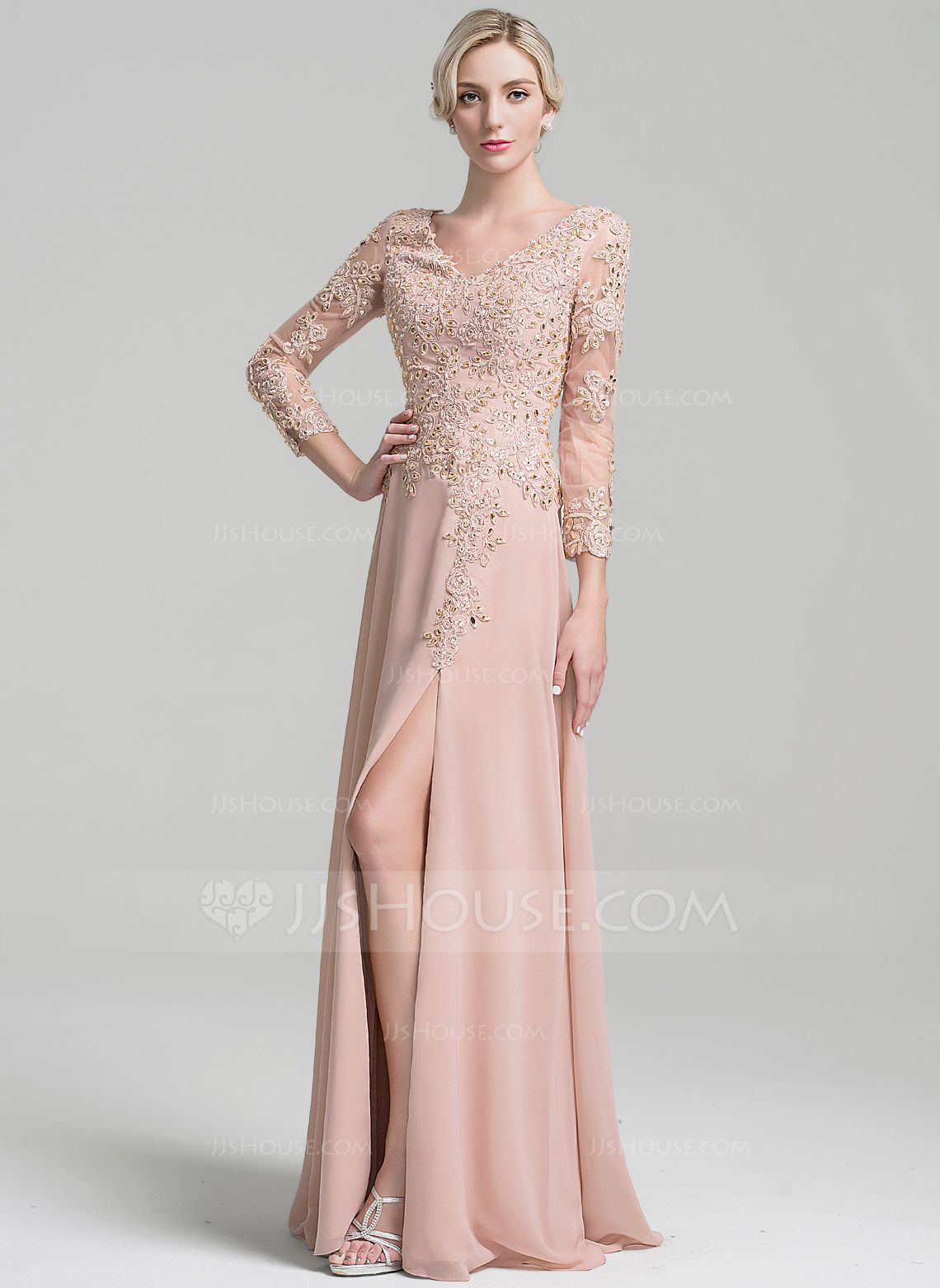 A-Line/Princess V-neck Floor-Length Chiffon Mother of the Bride ...