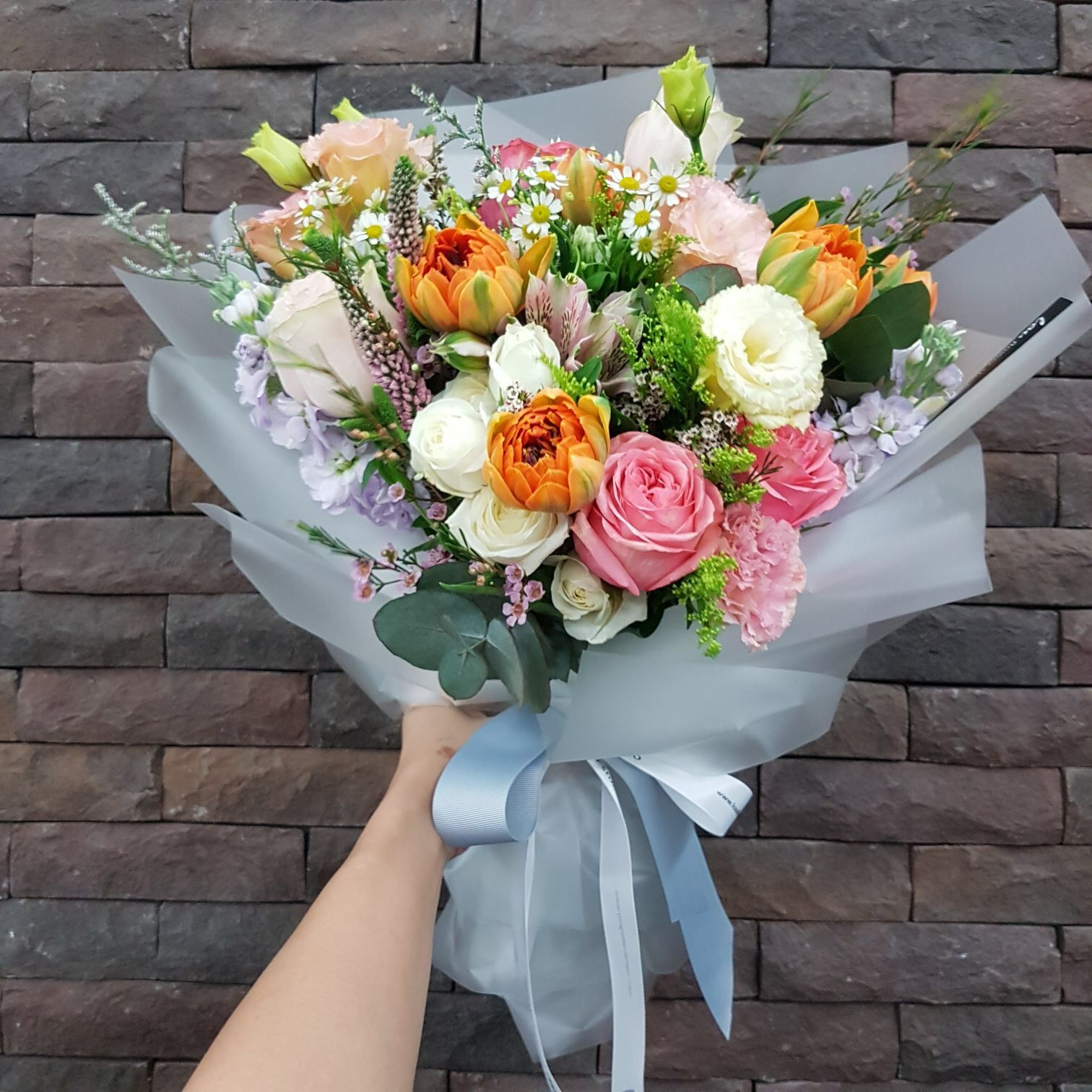 Garden Bouquet Of Tulips Roses Eustoma Veronica Flowers Bouquet Gift Flowers Bouquet Luxury Flowers