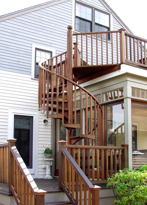 HOUSES WITH EXTERIOR TALL STAIRCASE | Stairs By Boston Stair Llc Exterior  Spiral Outdoor Spiral Staircase .