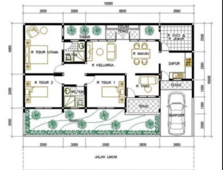 20 Gambar Denah Rumah Ukuran 8x10 3 Kamar Tidur Di 2020 Denah Rumah Rumah Minimalis Desain Rumah