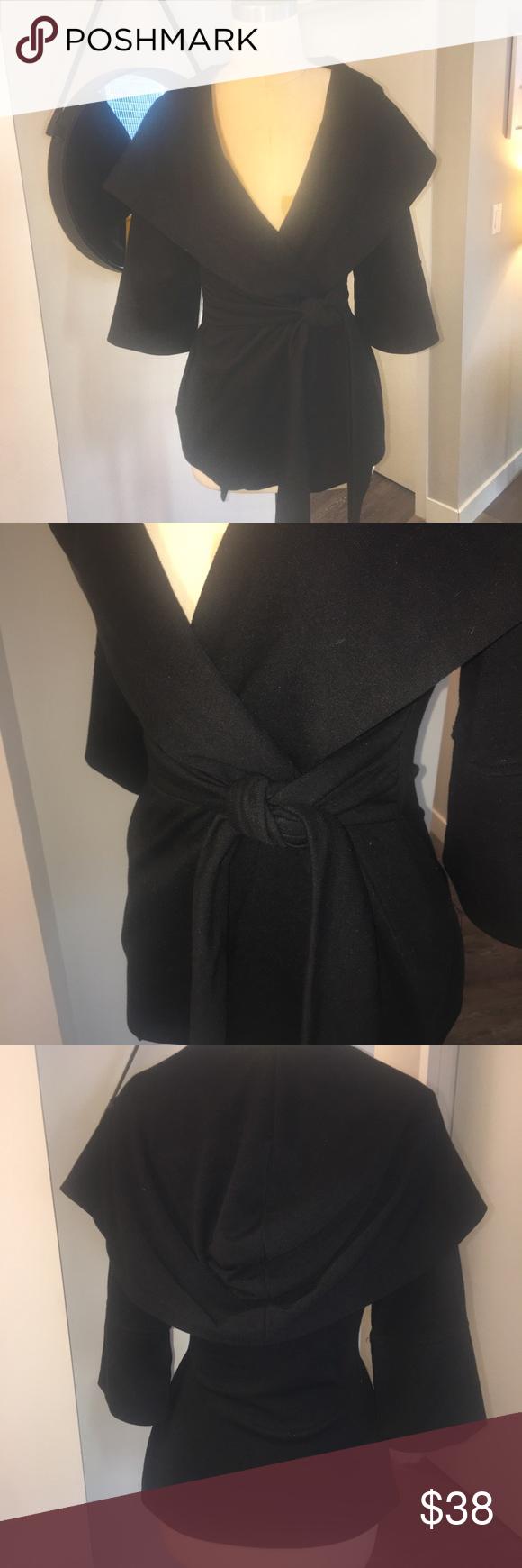 Wrap cardigan with pseudo hood 3/4 sleeve Wrap