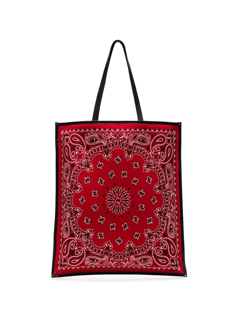 f3837dd72b5 Saint Laurent Red Bandana rectangular tote bag in 2019   Products ...