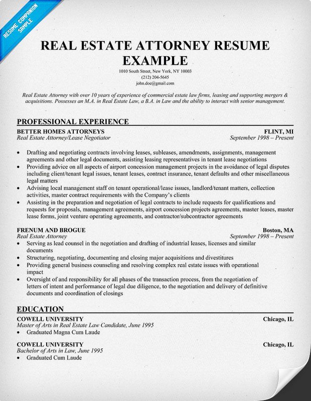 Real Estate Attorney Resume Example Resume Samples Across All - sample attorney resume cover letter