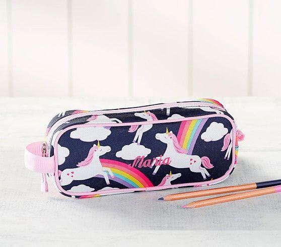 Mackenzie Navy Pink Rainbow Unicorn Pencil Case Unicorn
