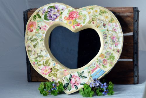Mary P Mosaics Shabby Chic French Country Heart Vintage China Mosaic Mirror Ebay Mosaic Mirror