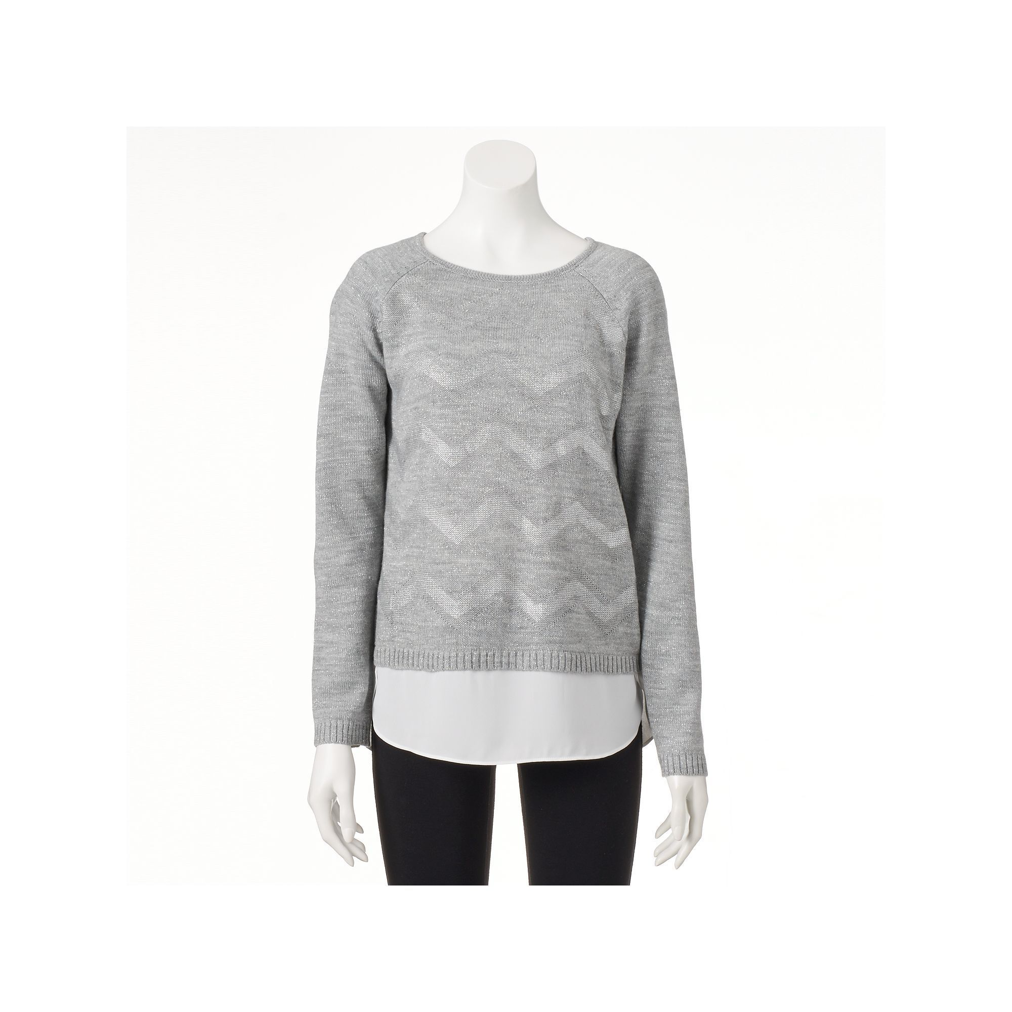 Women's AB Studio Metallic Chevron Sweater, Size: Xlrg Av/Rg, Light Grey