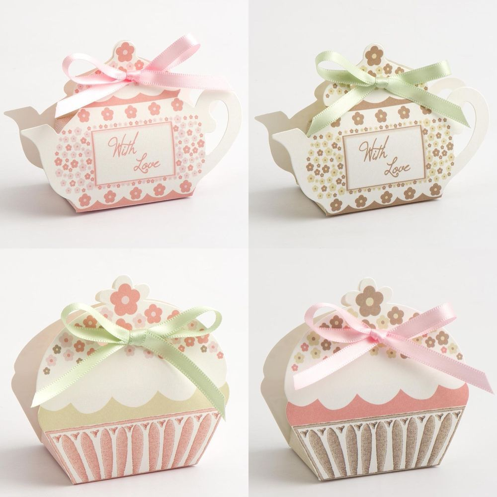 Tea Pot and Cup Cake Favour Boxes Vintage Wedding Party Gift | Favor ...