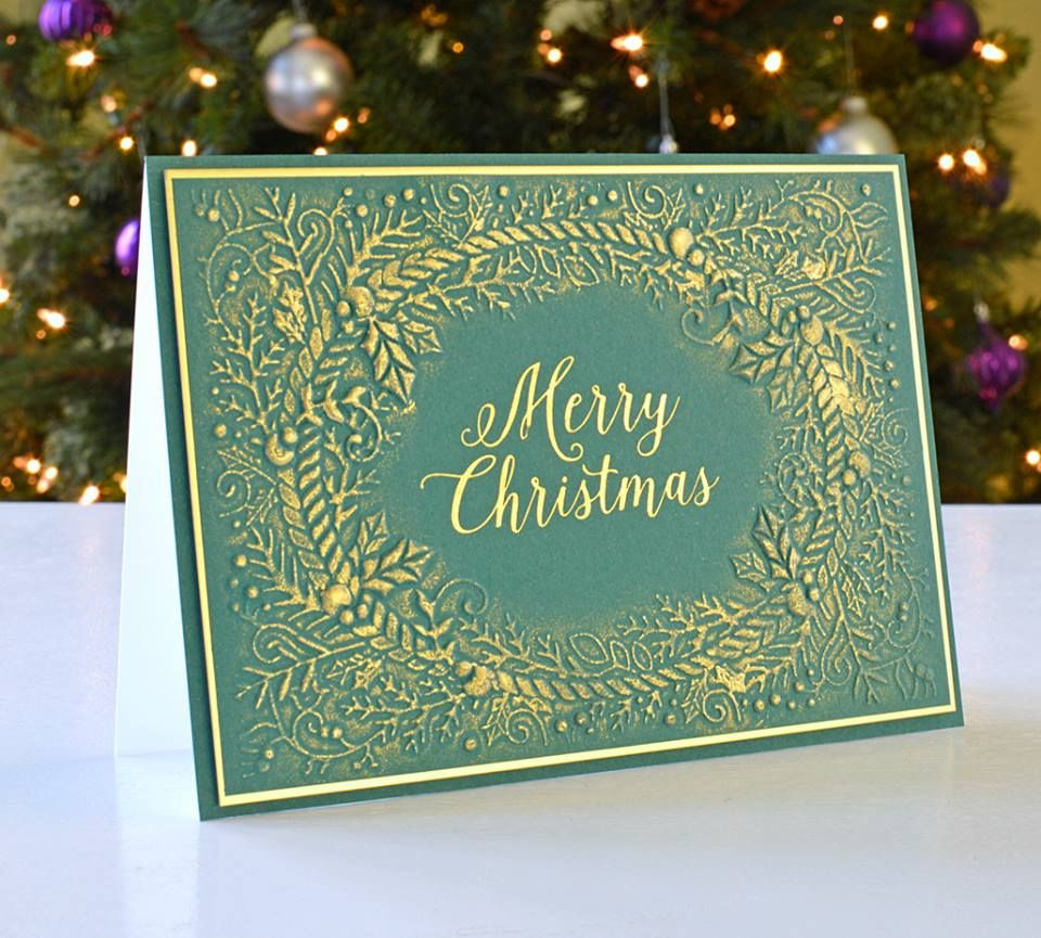 this beautiful and elegant christmas card was made by annie williams using the holly and ivy 3d embossing folder and the christmas foils traditional by - Elegant Christmas Cards