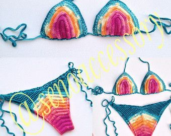 Swimwear Crochet Bikini Halter Bikini Women by senoAccessory