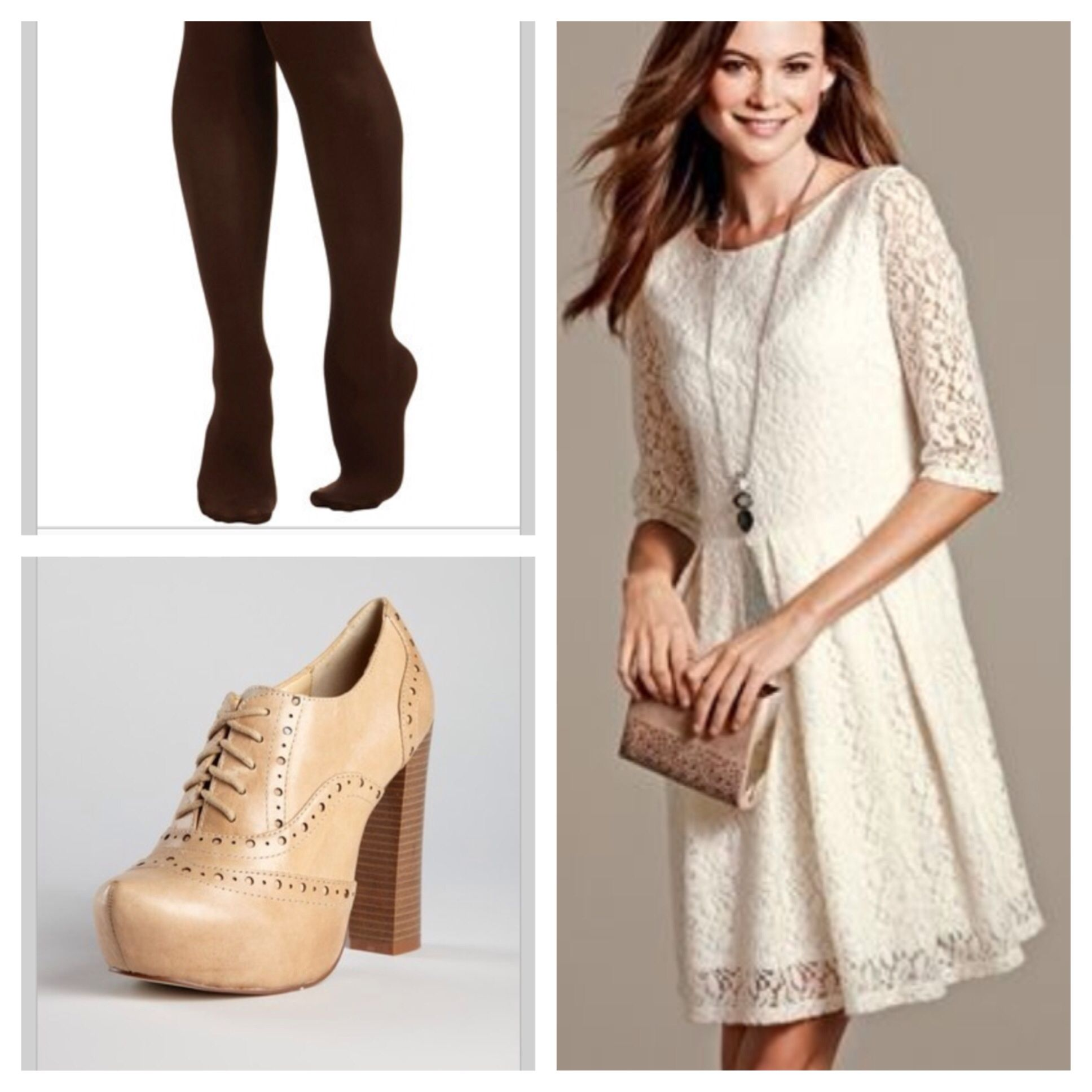 Cream Lace dress   brown tights   oxford heels | Cute & Modest ...