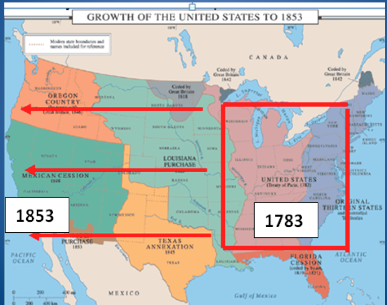 Westward Expansion Map of the U.S.a. | ... the actions of ...