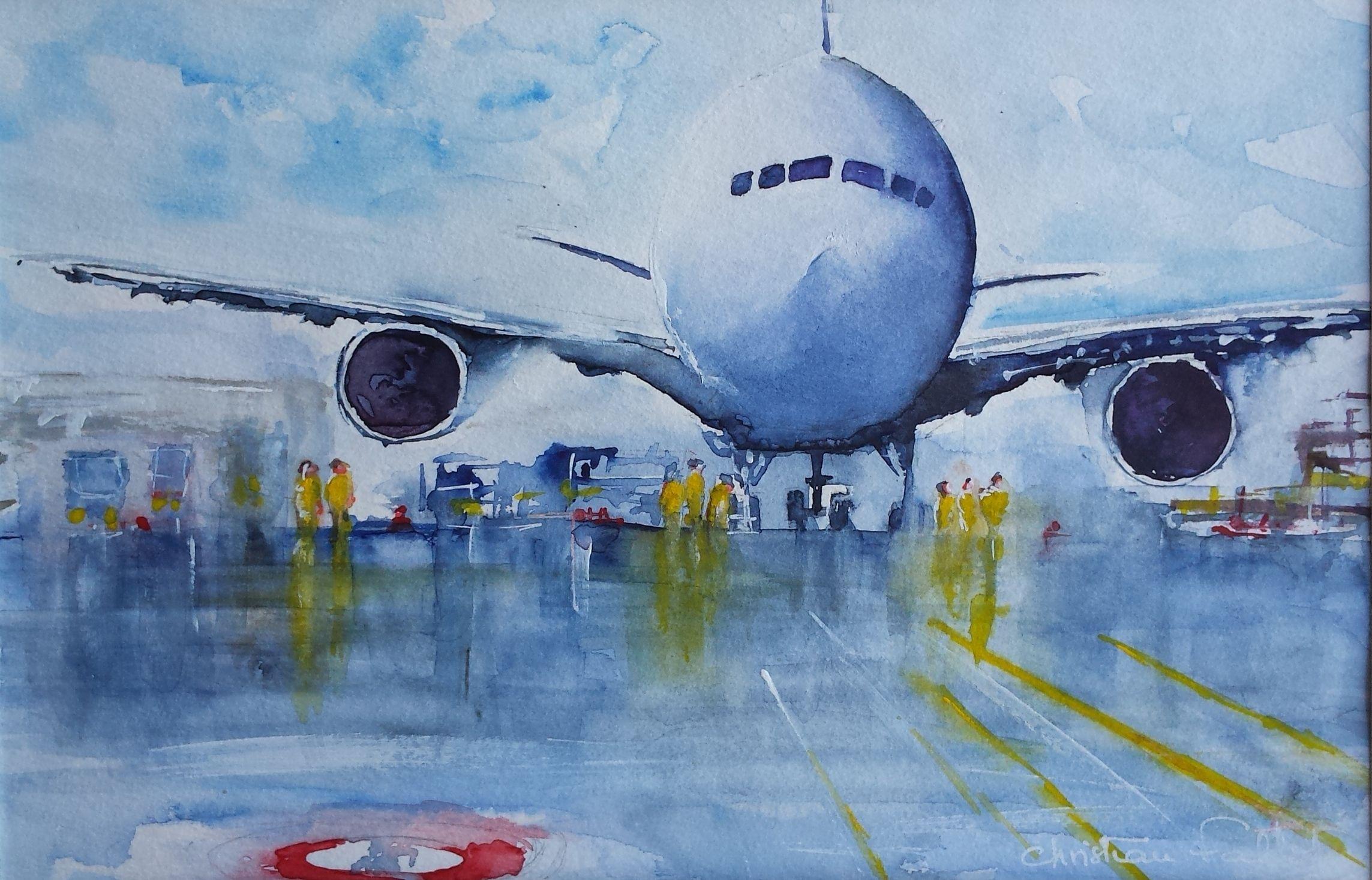 Christian Fallot Aquarelle Airbus Painting Christian Watercolor