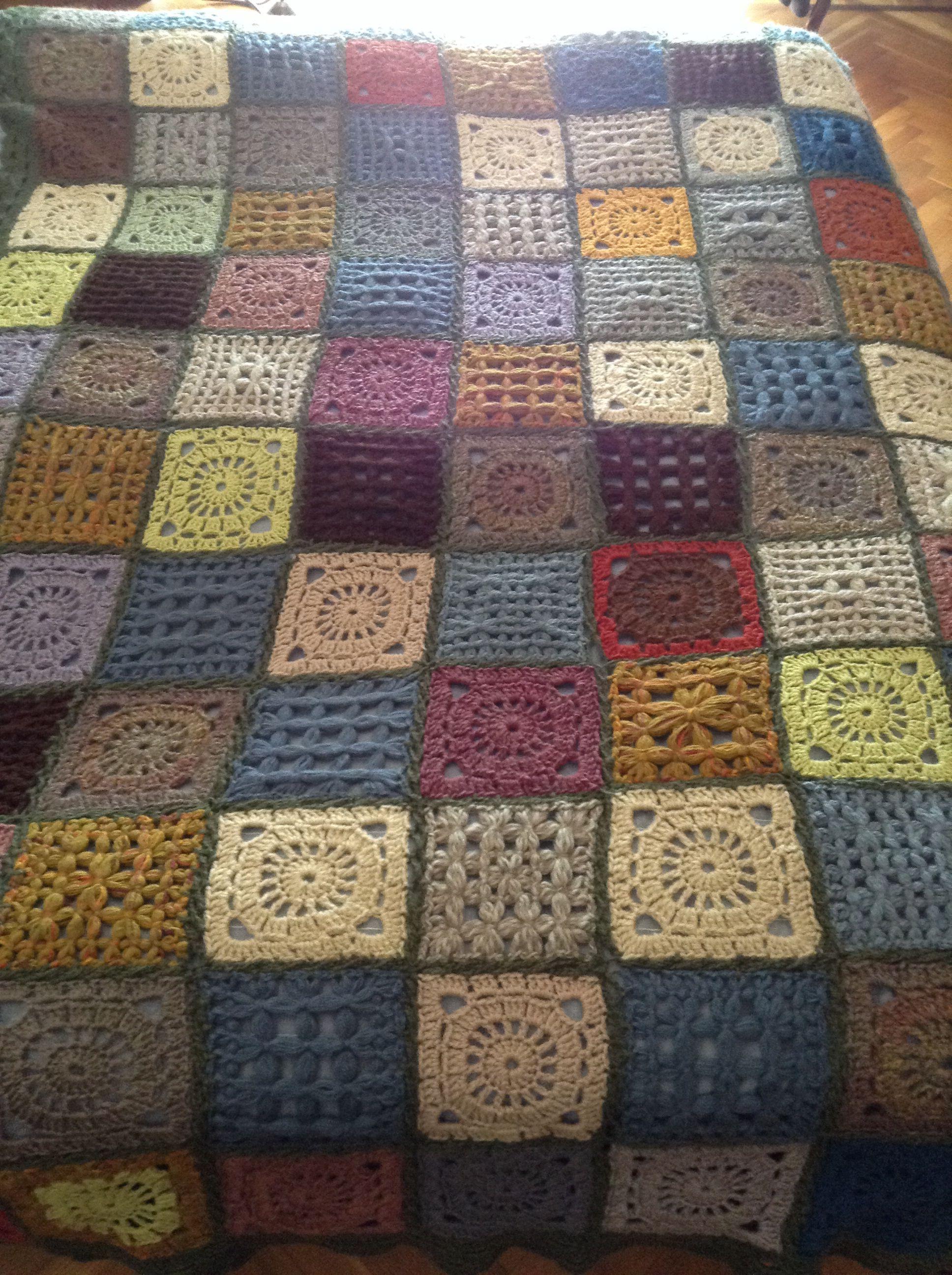 Coperta Uncinetto E Telaietto Con Avanzi Di Lana Crochet And Loom