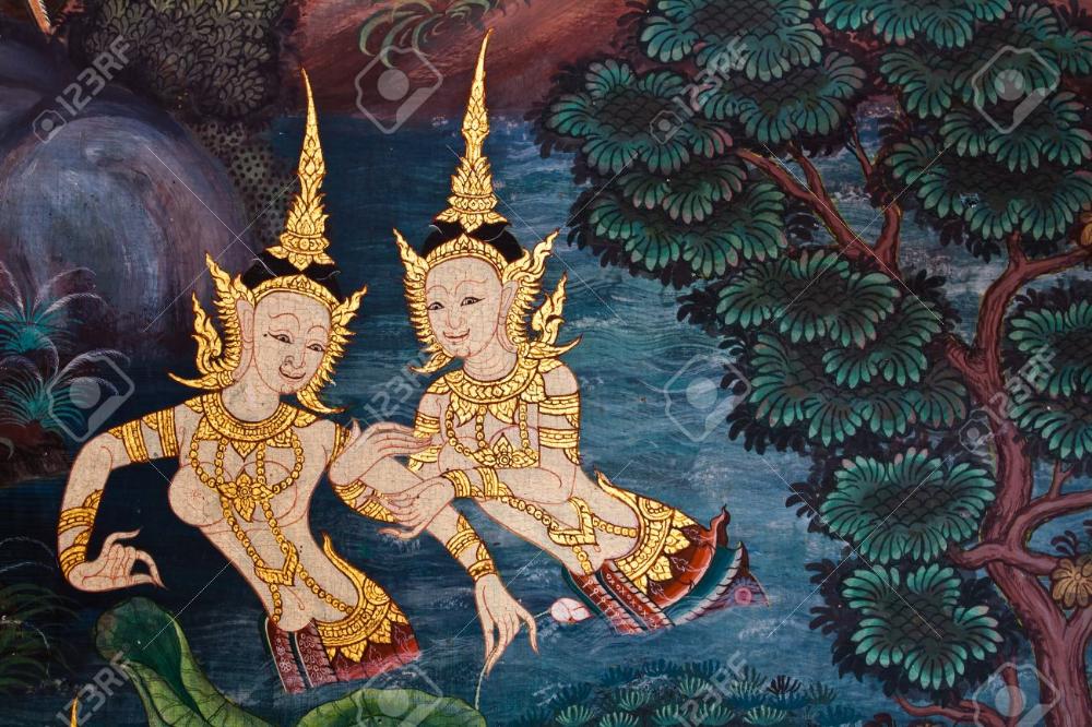 タイで壁の古代タイ絵仏寺 จ ตรกรรมฝาผน ง ศ ลปะไทย จ ตรกรรม
