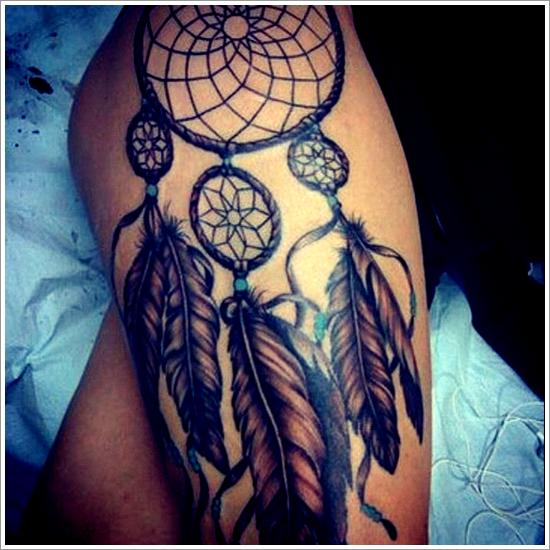 Elegant dreamcatcher tattoo on thigh projets essayer pinterest tatouages attrape r ves - Tatouage attrape reve cuisse ...