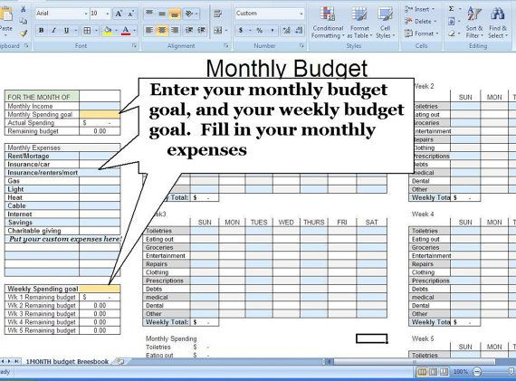 Budget Spreadsheet Budget Planner Money Management By Breesbook