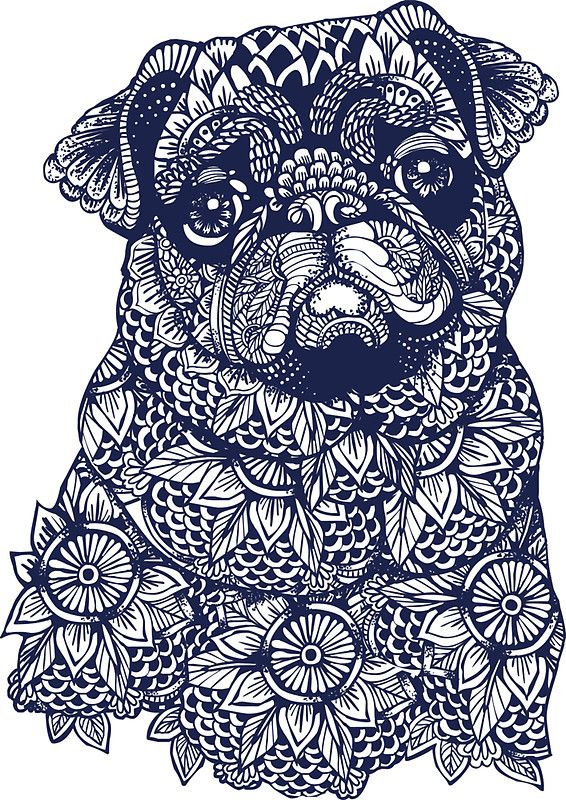 Coloriage De Chien Carlin.Mandala Of Pug Sticker By Huebucket Chien Coloriage Art