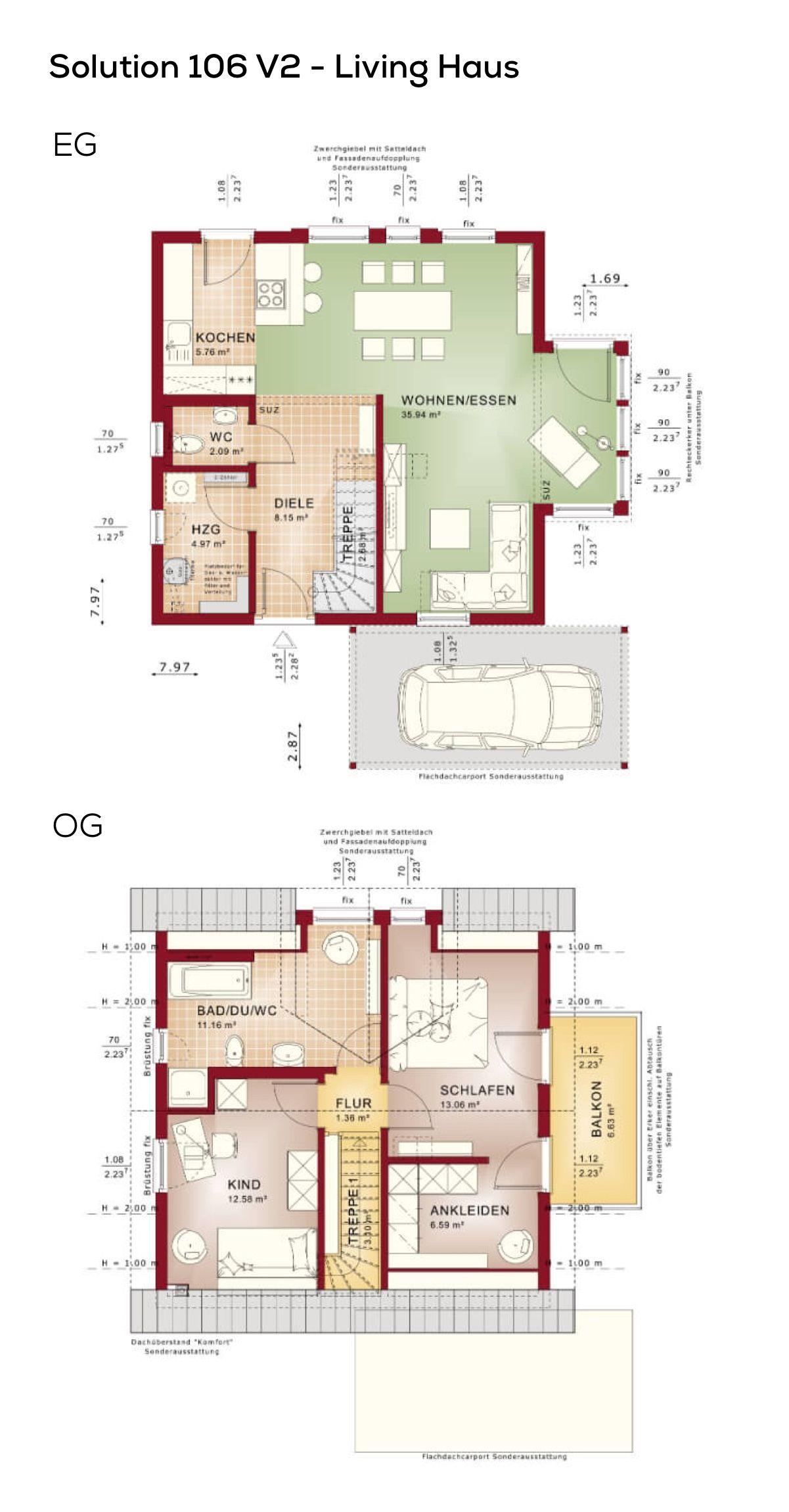 grundriss einfamilienhaus mit carport und satteldach architektur 3 zimmer 100 qm wohnfl che. Black Bedroom Furniture Sets. Home Design Ideas