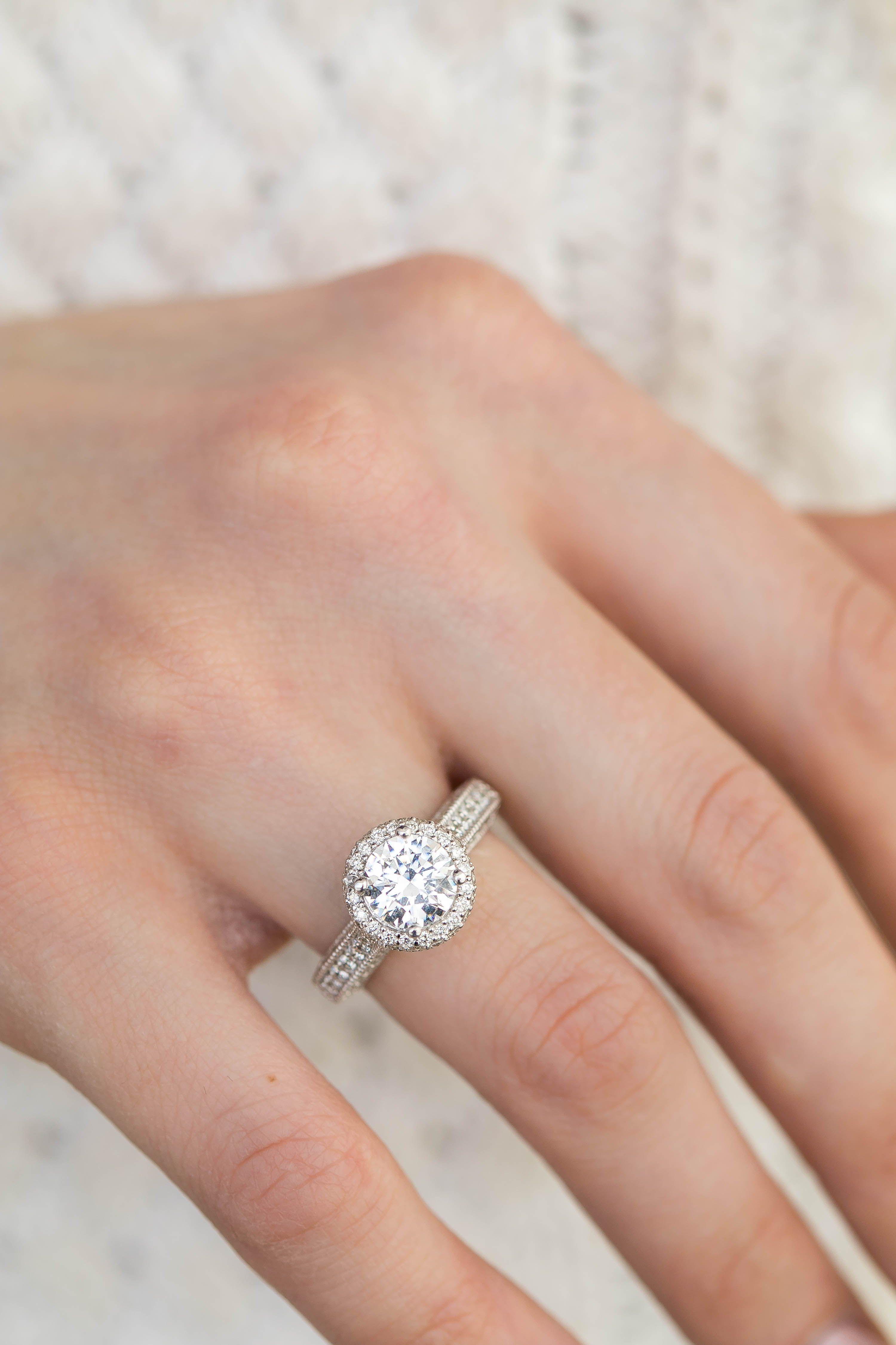 2 Carat Round Diamond Halo Engagement Ring Round Diamond Engagement Rings Halo Engagement Rings Engagement