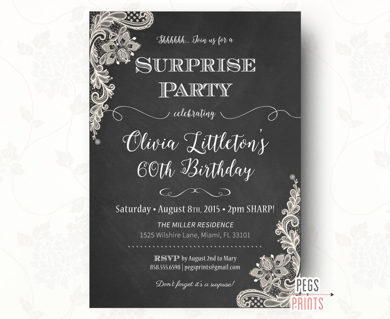 Chalkboard Birthday Invitation (Printable) Lace Birthday Invitation ...