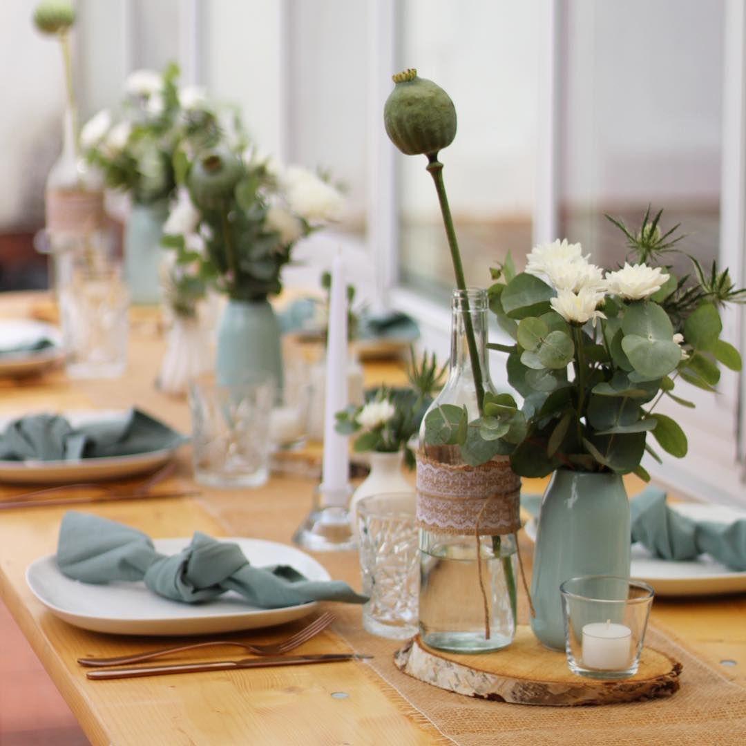Auch Zu Einem Mannergeburtstag Konnen Ruhig Blumen Dekoriert Werden Wie Bei Diesem Geburtstag An Dem Mintfarbene Hochzeit Hochzeitstisch Taufe Tischdekoration